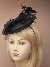 LADIES BLACK HATINATOR HAIR FASCINATOR 4602 FEATHERS alice band HAT RACE WEDDING