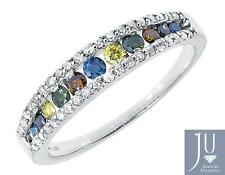 14k White Gold Ladies Multi Color Fancy Diamond 4mm Fashion Band Ring 0.57 ct