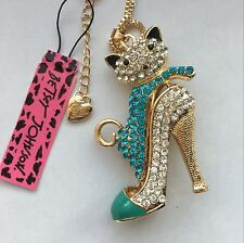 Betsey Johnson fashion jewelry Crystal Cat High heels pendant necklace # F461