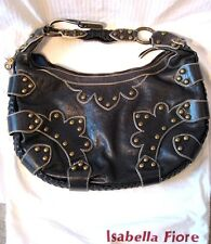 ISABELLA FIORE Black Leather Brass Studded HANDBAG