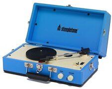 Steepletone SRP025 Retro años 60 Estilo Portátil Tocadiscos con Altavoz Azul