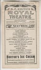 1917 PROGRAM - B.F. KEITH'S ROYAL THEATRE - WESTCHESTER AVENUE NYC