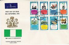 NIGERIA 1970 INDEPENDENCE Stamps Set 8v Unaddressed FIRST DAY COVER Ref:489