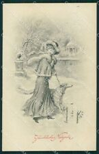 Borzoi dog Glamour Lady B K W I LITTLE CREASE postcard cartolina QT6150