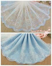 "7.5""*1Y Embroidered Tulle Lace Trim~Ivory+Lt.Blue+Lt.Purple~Flying Snowflake~"