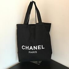 Auth CHANEL Paris Beauty VIP Gift Black Canvas Tote Bag Shopping Bag