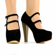 NEW DOUBLE STRAP SUEDE SHOES WOMENS WOODEN THICK HIGH HEEL PLATFORM LADIES