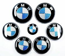 Bmw fibre de carbone bleu & blanc-wheel centre caps avant arrière & steering badges