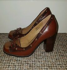 *STUNNING M&S Ltd Collection Ox-Blood Red Leather Block Heels Sz 4.5 RRP £29.50