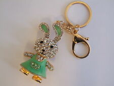 HANDBAG BUCKLE CHARMS CRYSTAL & GREEN ENAMEL BUNNY RABBIT KEYRINGS KEY CHAIN