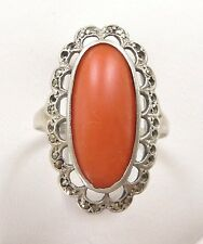 Vtg Natural Salmon Red Coral Ring Size 8 Marcasite 925 Silver Antique Art Deco