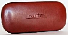 """NeW~NAUTICA~BROWN Leather CASE~Clamshell Eyeglass Specticals Sunglass 6"""" x 3"""""""