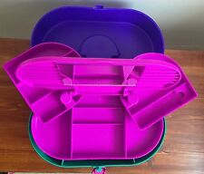 Vintage CABOODLES 3-Tier Large Retro Teal Purple Pink Makeup Cosmetic Case 2640