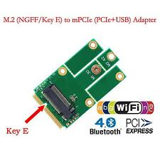 M.2 NGFF Key E to Mini PCI-E with USB2.0 Adapter WIFI Bluetooth 4.0