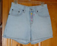 LEVI'S Light Blue 5-Pocket JEAN SHORTS Embroidered Floral Fly 29 X 4 Size 3