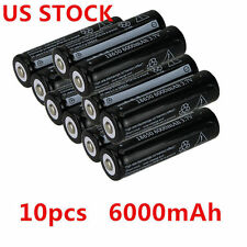 10pcs 18650 6000mAh 3.7V Rechargeable Li-ion Battery For UltraFire Flashlight US