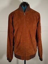 Mens OBEY worldwide brown suede bomber jacket size Medium