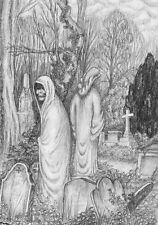 Spooky single greeting card - great for Halloween, creepy figure in graveyard