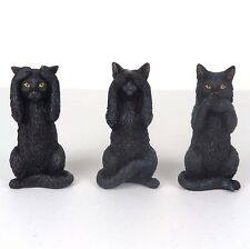 "Black Kittens Cat - Hear Speak See No Evil - Figurine Miniature 3.75""H New"