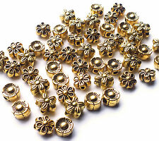 50 x Nice Quality Antique Gold Plated Flower Daisy Spacer Bead Charms, 6mm/7mm