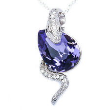 "Tanzanite & Cz Cobra Snake .925 Sterling Silver Pendant Necklace 18"" chain"