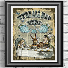 ART PRINT ON ORIGINAL ANTIQUE BOOK PAGE Alice in Wonderland Tea Time Dictionary