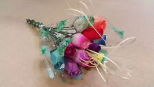 12 Multi Coloured Wooden Rose Bouquet