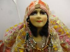 """19"""" Vintage Sultry Boudoir Doll, Gypsy Type, V Good Condition"""