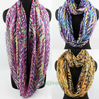 Womens Fashion Scarves Colorful Graffiti Stripes Print Casual Infinity Scarf New