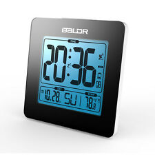 Baldr Black New Atomic Snooze Desk Alarm Clocks LCD Digital Calendar Temperature