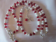 "CRYSTAL & PEARL+ CROSS NECKLACE16"" BRACELET,(PEARL WHITE&CRYSTAl."