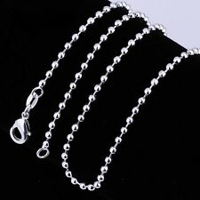 925 Sterling Silver Plated 3 mm Ball Chain Necklace 18""