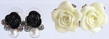 Vintage Lot 2 Pr Pierced Lucite Rose Earring Black AB & Pearl & Carved White 96
