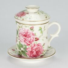NEW Vintage style Tea Mug 4 pce Cover Strainer Saucer Shabby Chic Porcelain Rose