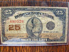 1923 OTTAWA CANADA BANK 25 CENTS FRACTIONAL CURRENCY NOTE AS FOUND NICE