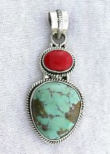 Sterling Silver Persian Turquoise Red Coral Cab Cabochon Gemstone Pendant ES2359
