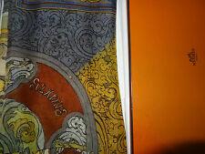 AUTH HERMES `Les Animaux Solaires` Silk (mousseline)Shawl(140cm x 140cm)
