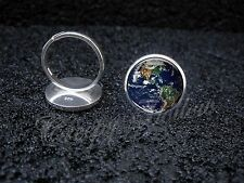 925 Sterling Silver Adjustable Ring Planet Earth Astronomy Science