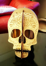 Sugar Skull Wood Engraved Desk Organizer, wooden deak tidy, Carved Wood Box