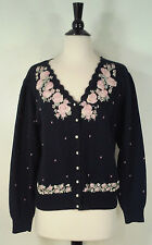 Makgules Cardigan Sweater Pink Rose Embroidered Pearl Buttons Blue Women's