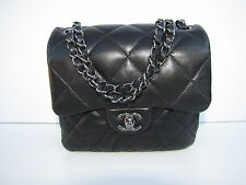 Auth Chanel Black Lambskin Leather Small/Mini Flap Crossbody Bag Shw