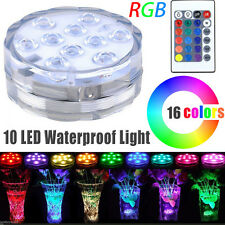 Submersible 10 LED Waterproof Light RGB for Vase Tank Fish Decor+ Remote Control