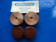 NOS VINTAGE BROWN BENOTTO PROFESSIONAL HANDLEBAR TAPE & PLUGS L'EROICA