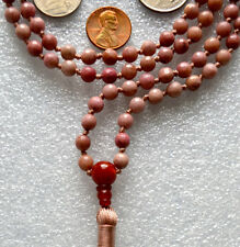 Rhodonite & Carnelian Hindu Hand Knotted Peach Mala Beads Necklace - Energized K