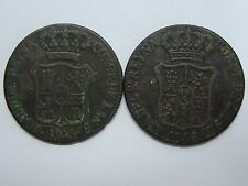 1841 1846 ISABEL II 6 CUARTOS CATALONIA MINT LOT 2 COIN SPAIN SPANISH