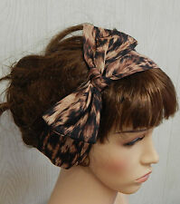 Animal print self tie headband retro hairscarf head wrap bow tie up head scarf
