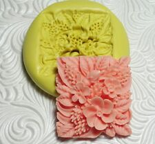 Floral Square Mold Silicone Resin Polymer Clay Fondant Flexible Push Mold