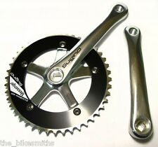 SUGINO MESSENGER BIKE CRANK SET 44 x 165mm SILVER & BLACK TRACK FIXED GEAR JAPAN