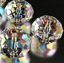 New 100pcs Clear Faceted Crystal Loose Beads Gemstone AB4x6mm