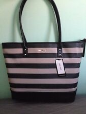 NEW Nine West Black and Beige Stripe Color Womens Shoulder Handbag